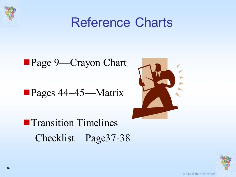 06.032.98 Early Childhood 34 Reference Charts  Page 9—Crayon Chart  Pages 44–45—Matrix  Transition Timelines Checklist – Page37-38