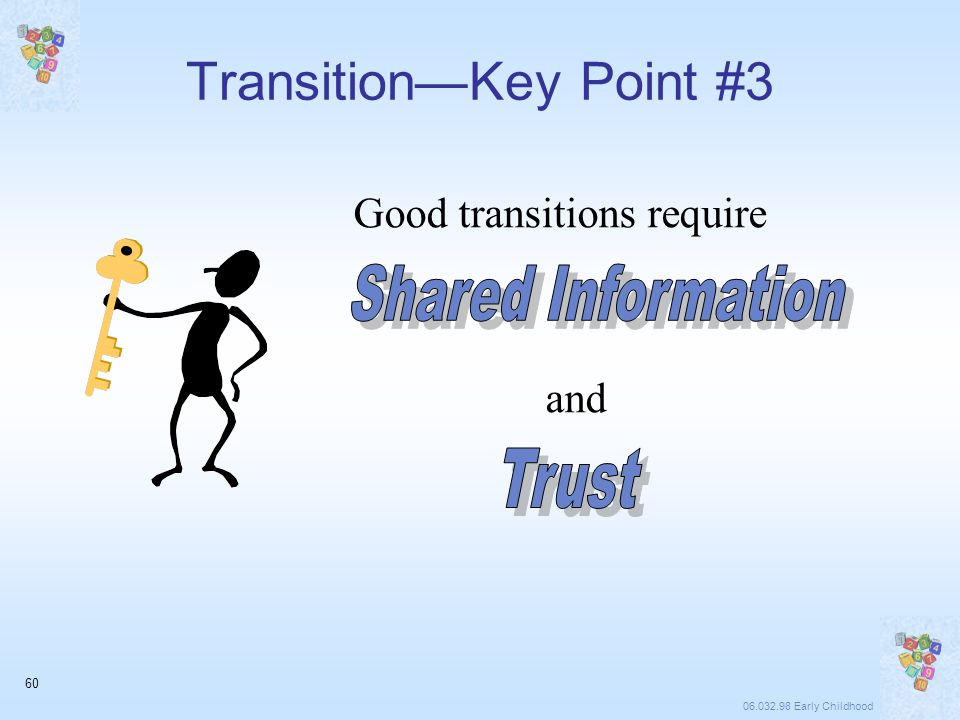 06.032.98 Early Childhood 60 Good transitions require and Transition—Key Point #3