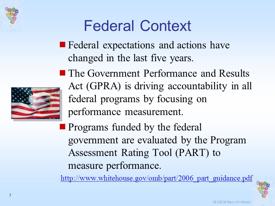 06.032.98 Early Childhood 7 Federal Context  Federal expectations and actions have changed in the last five years.