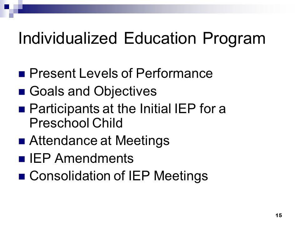 14 Individualized Education Program (IEP)