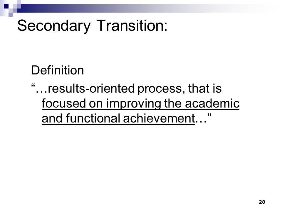 27 Secondary Transition