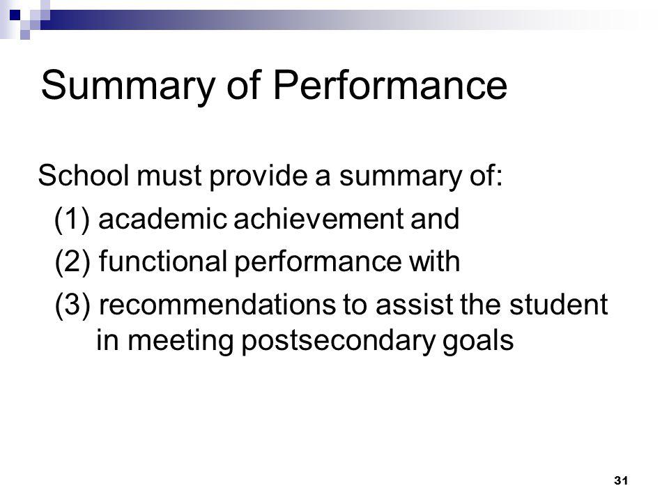 30 Summary of Performance