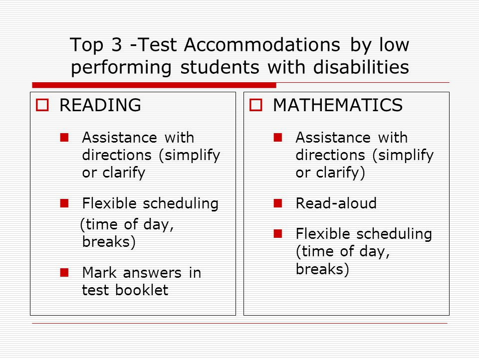 Top 3 -Test Accommodations by low performing students with disabilities  READING Assistance with directions (simplify or clarify Flexible scheduling (time of day, breaks) Mark answers in test booklet  MATHEMATICS Assistance with directions (simplify or clarify) Read-aloud Flexible scheduling (time of day, breaks)