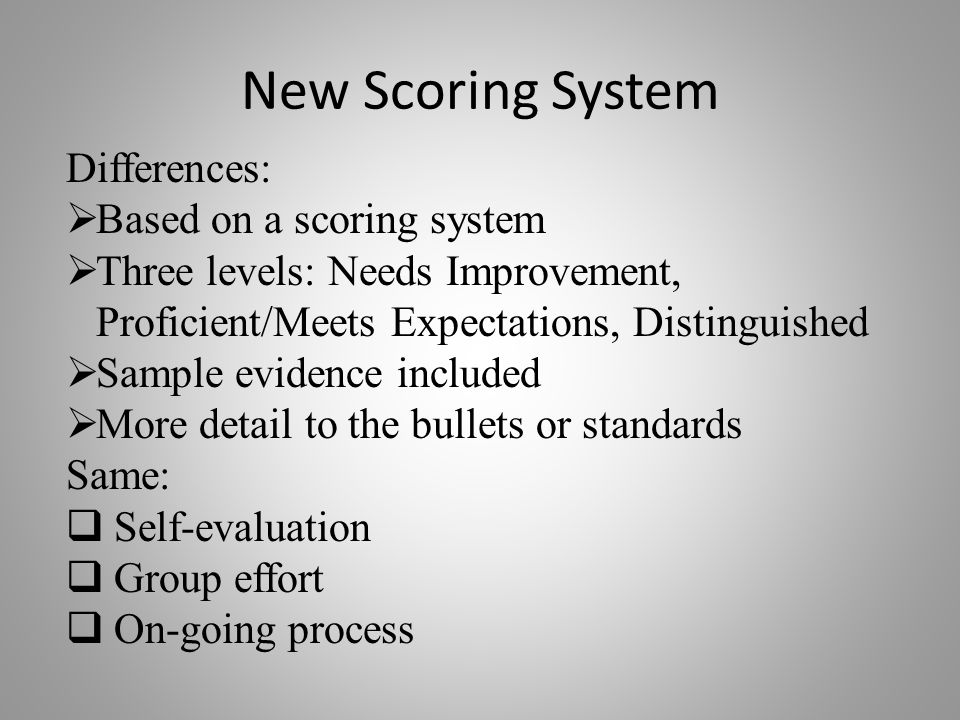 New Scoring System Differences:  Based on a scoring system  Three levels: Needs Improvement, Proficient/Meets Expectations, Distinguished  Sample evidence included  More detail to the bullets or standards Same:  Self-evaluation  Group effort  On-going process