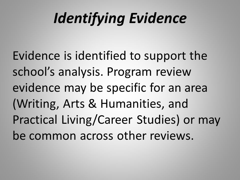 Identifying Evidence Evidence is identified to support the school's analysis.