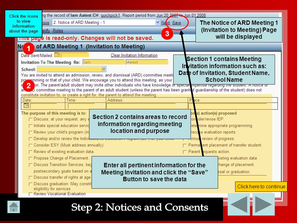 Click the icons to view information about the page 1 The Notice of ARD Meeting 1 (Invitation to Meeting) Page will be displayed 2 Section 1 contains M