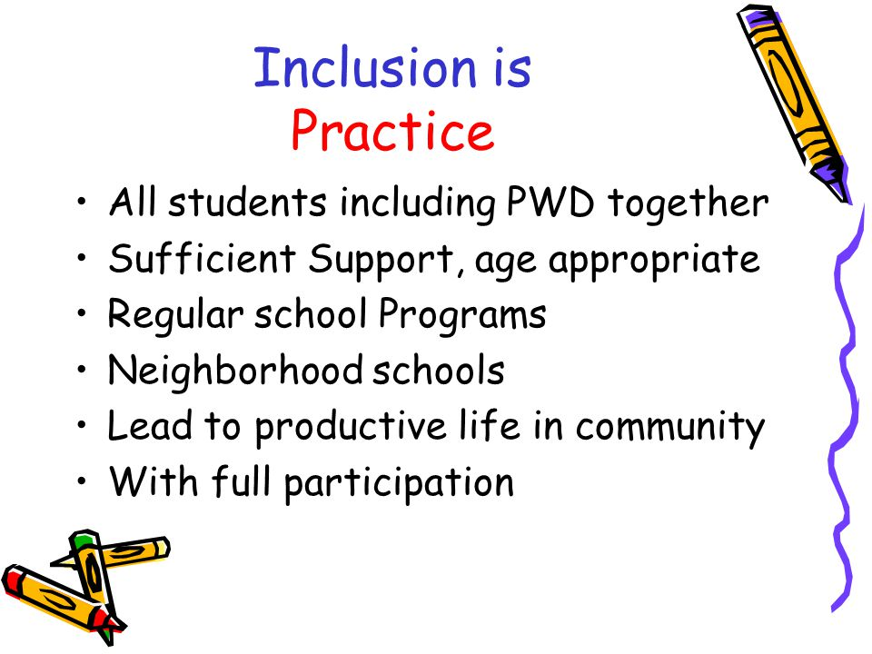 Inclusion is Philosophy Inherent right to participate Acceptance of differences Space for whom otherwise be excluded Collaboration, Teamwork, Flexibility Willingness to take risks & Support from Individuals, Services & Institutions