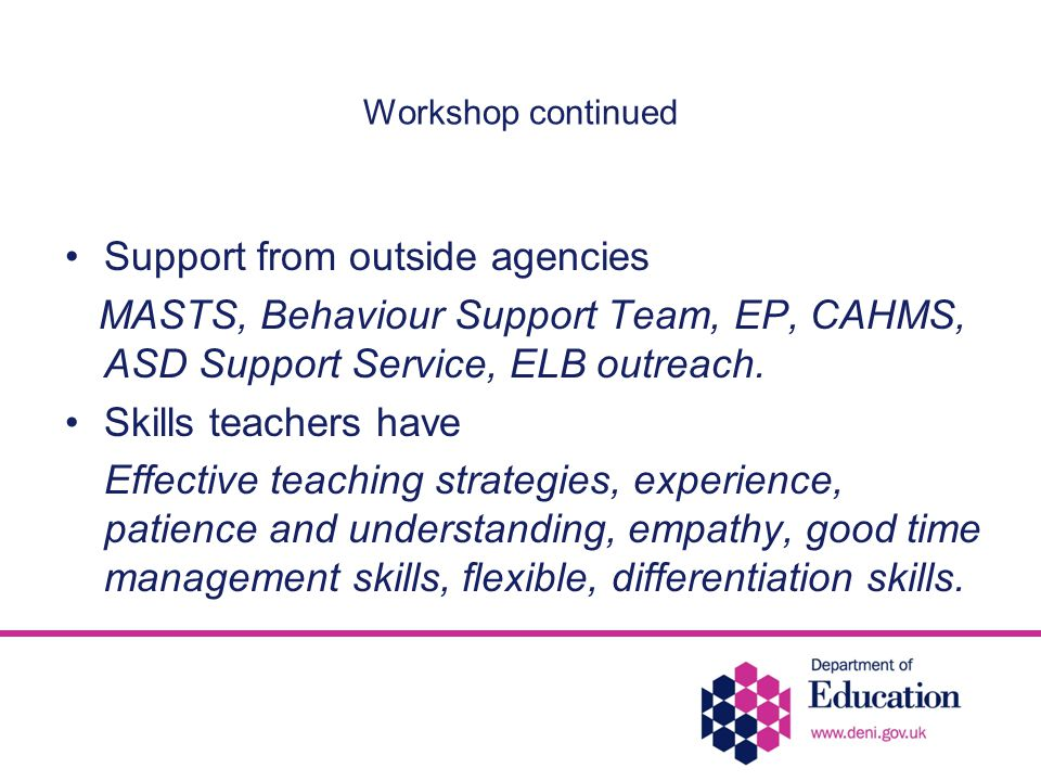 Workshop continued Support from outside agencies MASTS, Behaviour Support Team, EP, CAHMS, ASD Support Service, ELB outreach.
