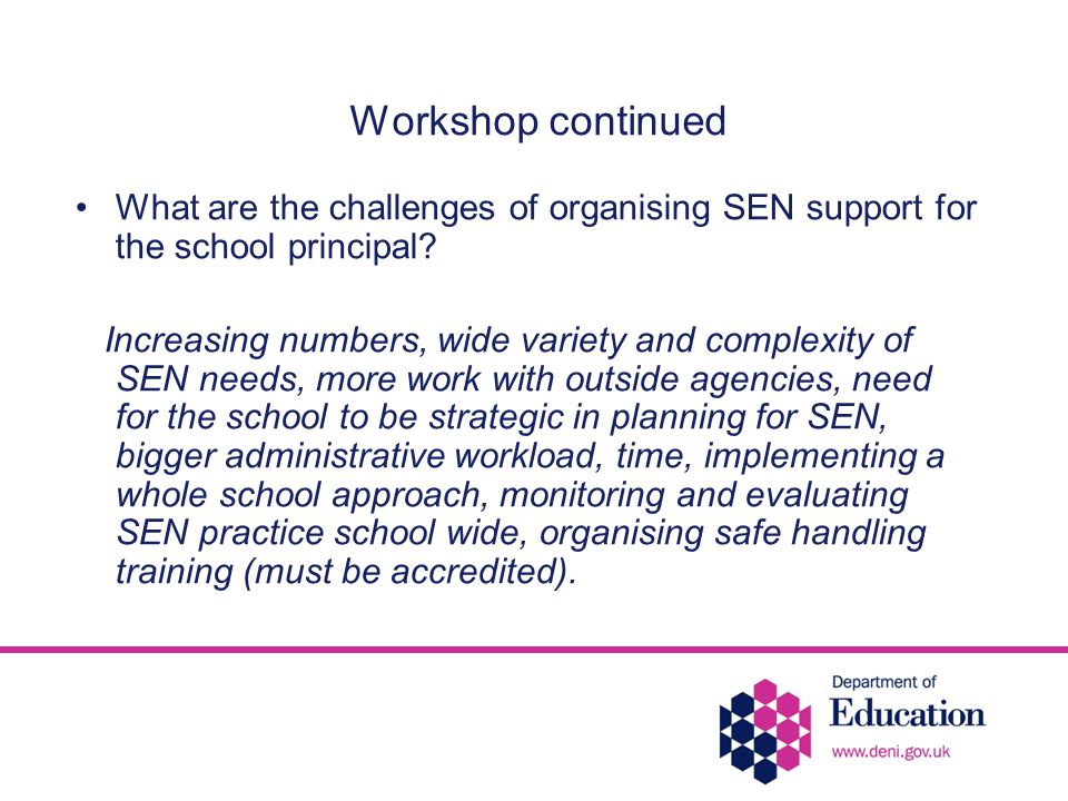 Workshop continued What are the challenges of organising SEN support for the school principal.