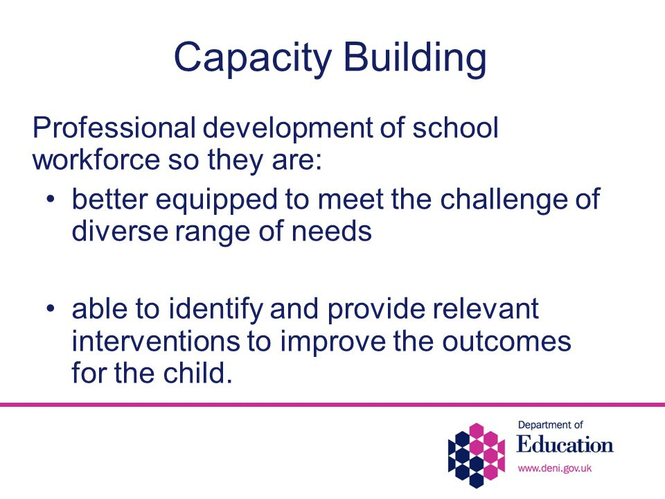 Capacity Building Professional development of school workforce so they are: better equipped to meet the challenge of diverse range of needs able to identify and provide relevant interventions to improve the outcomes for the child.
