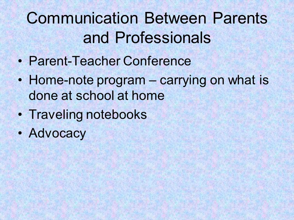 Hints for parents-IEP meeting Take the initiative to set date and time Ask that the purpose of meeting be clarified Ad items they feel should be on the agenda Write down present and future goals Ask to have areas of discussion written large enough for all to see at the meeting Ask for definitions of jargon Ask for regular meeting schedule to review IEP Promote ongoing communication