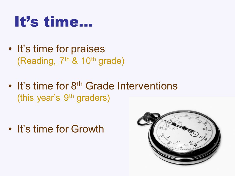 It's time… It's time for praises (Reading, 7 th & 10 th grade) It's time for 8 th Grade Interventions (this year's 9 th graders) It's time for Growth