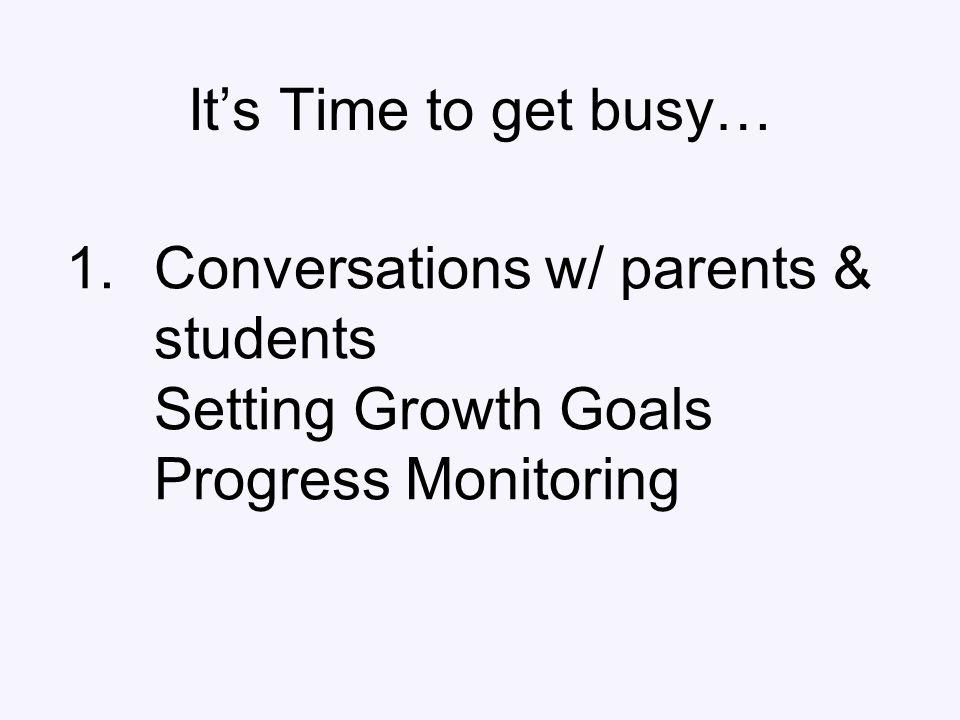 1.Conversations w/ parents & students Setting Growth Goals Progress Monitoring