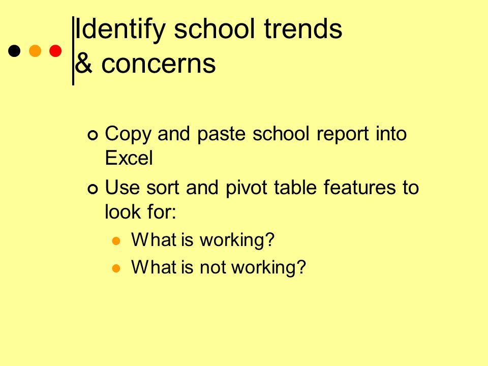 Identify school trends & concerns Copy and paste school report into Excel Use sort and pivot table features to look for: What is working.