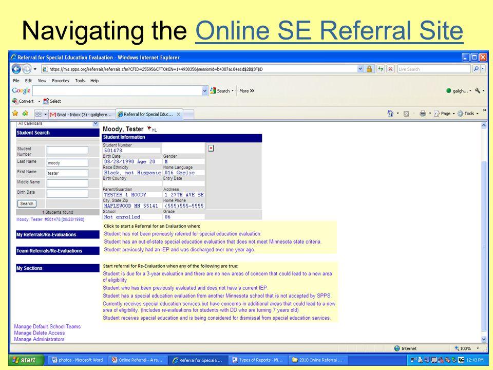 Navigating the Online SE Referral SiteOnline SE Referral Site
