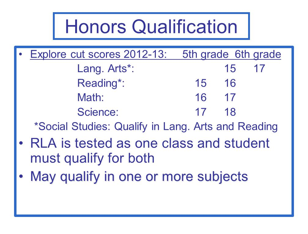 Honors Qualification Explore cut scores 2012-13: 5th grade 6th grade Lang. Arts*: 1517 Reading*: 1516 Math: 1617 Science: 1718 *Social Studies: Qualif