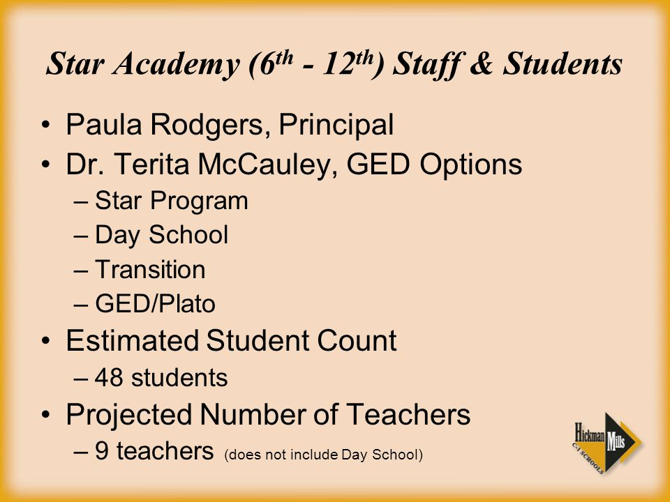 Star Academy (6 th - 12 th ) Staff & Students Paula Rodgers, Principal Dr.