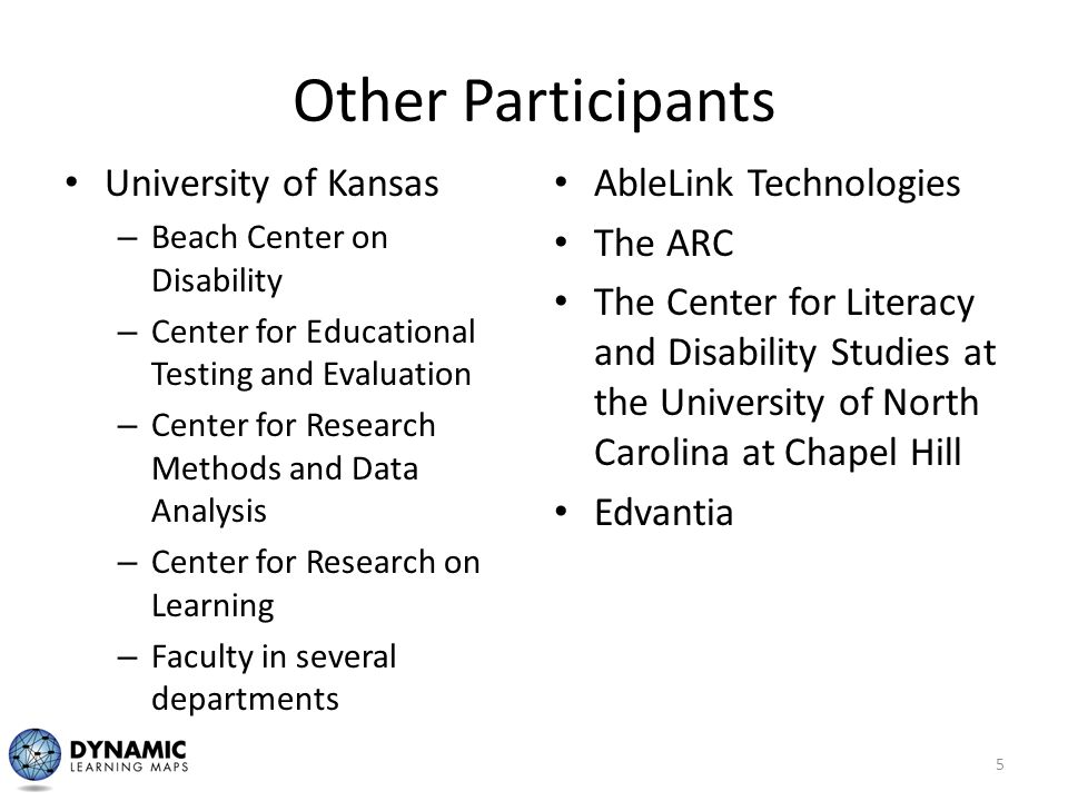 Other Participants University of Kansas – Beach Center on Disability – Center for Educational Testing and Evaluation – Center for Research Methods and