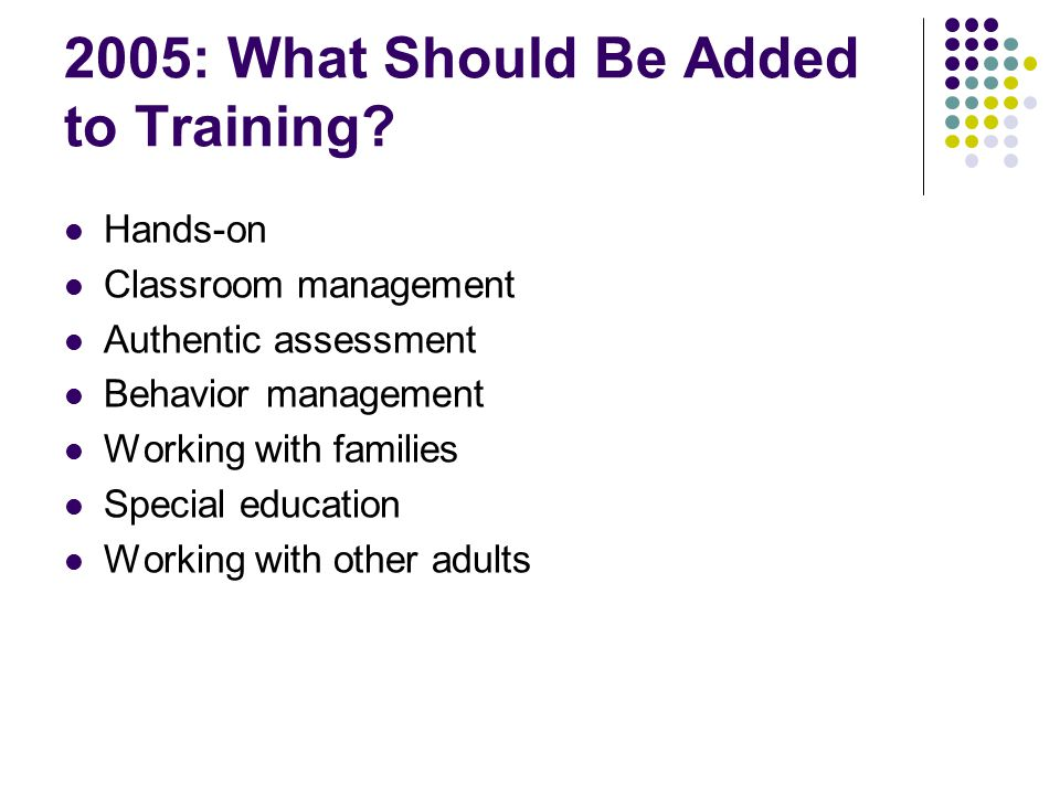 2005: What Should Be Added to Training.