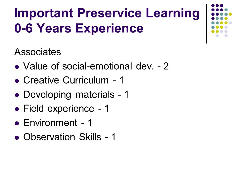 Important Preservice Learning 0-6 Years Experience Associates Value of social-emotional dev.