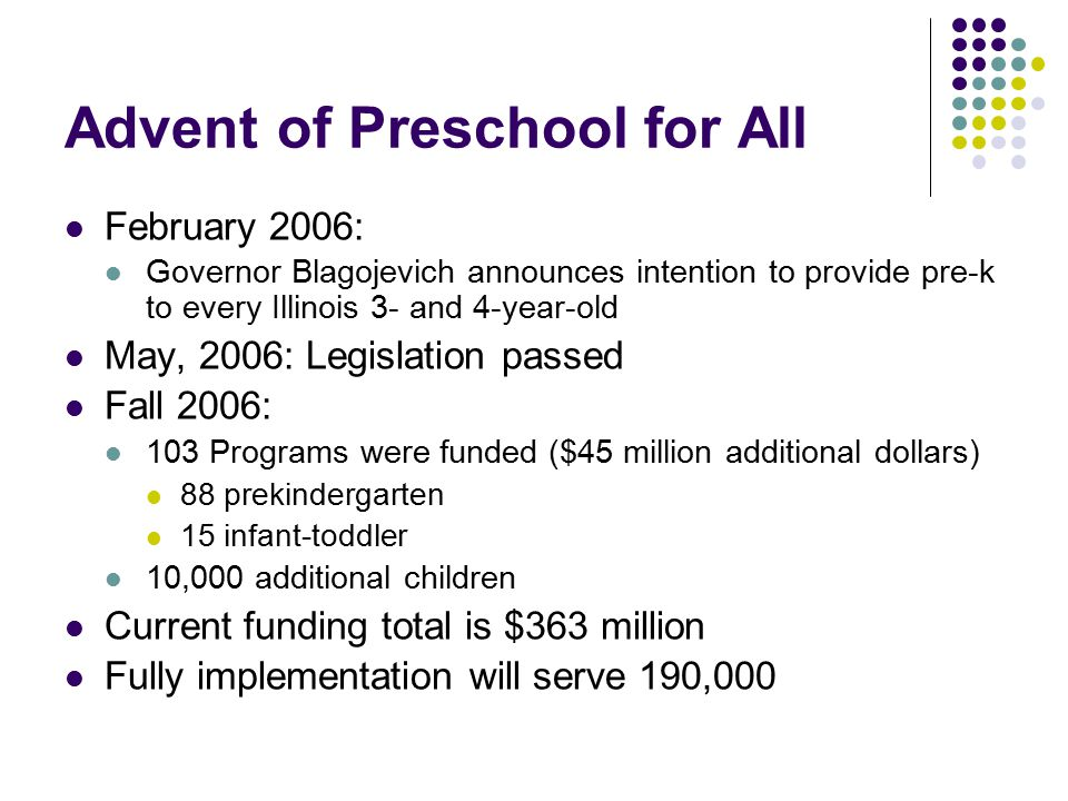 Advent of Preschool for All February 2006: Governor Blagojevich announces intention to provide pre-k to every Illinois 3- and 4-year-old May, 2006: Legislation passed Fall 2006: 103 Programs were funded ($45 million additional dollars) 88 prekindergarten 15 infant-toddler 10,000 additional children Current funding total is $363 million Fully implementation will serve 190,000