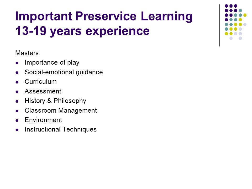Important Preservice Learning 13-19 years experience Masters Importance of play Social-emotional guidance Curriculum Assessment History & Philosophy Classroom Management Environment Instructional Techniques