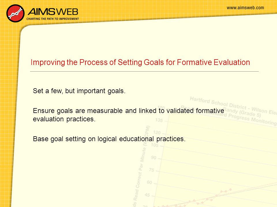 Improving the Process of Setting Goals for Formative Evaluation Set a few, but important goals. Ensure goals are measurable and linked to validated fo