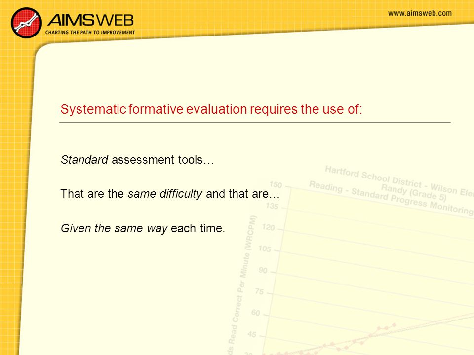 Systematic formative evaluation requires the use of: Standard assessment tools… That are the same difficulty and that are… Given the same way each tim