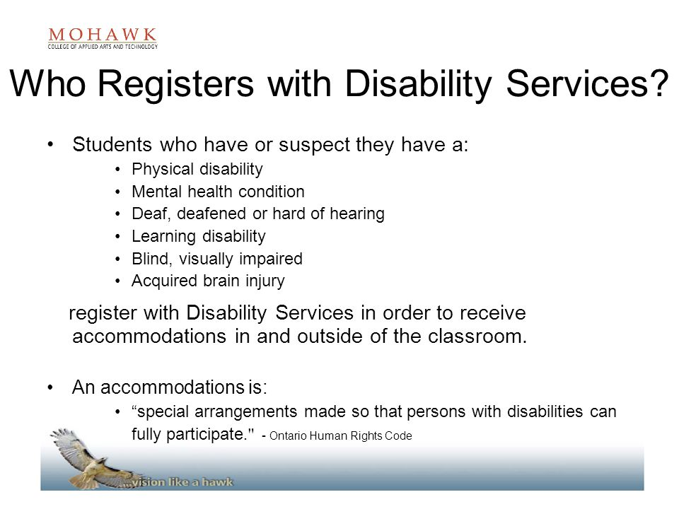 Who Registers with Disability Services.