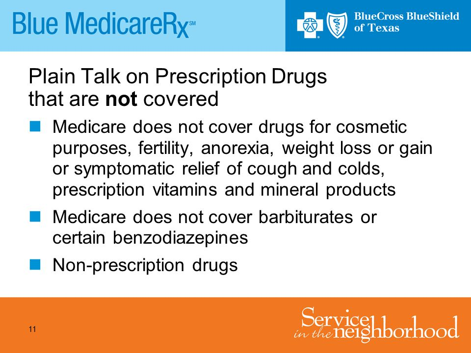 11 Plain Talk on Prescription Drugs that are not covered Medicare does not cover drugs for cosmetic purposes, fertility, anorexia, weight loss or gain