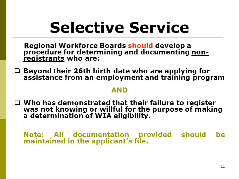 10 Selective Service Males born on or after January 1, 1960 must register with the selective service system within 30 days after their 18 th birthday or at least before they reach the age of 26.
