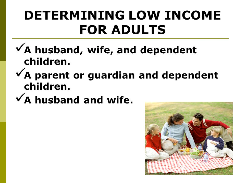 17 DETERMINING LOW INCOME FOR ADULTS In order to determine income level, the family unit must be considered.