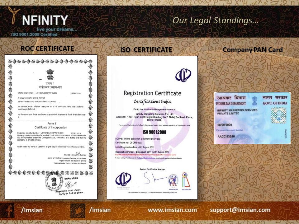 ROC CERTIFICATE ISO CERTIFICATE Our Legal Standings… Company PAN Card