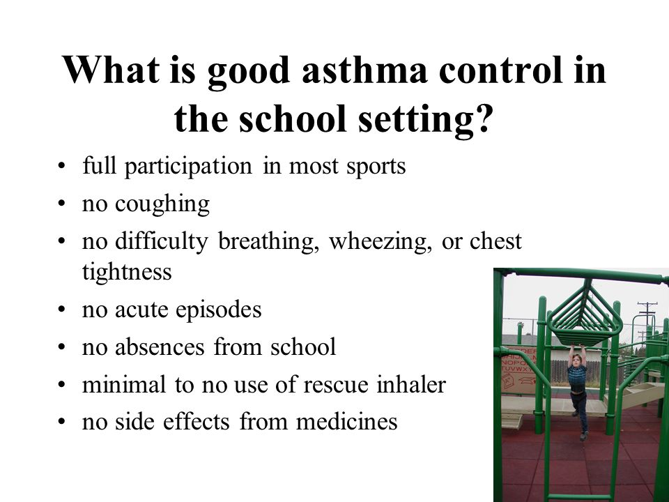 What is good asthma control in the school setting.