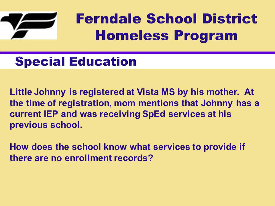 Little Johnny is registered at Vista MS by his mother. At the time of registration, mom mentions that Johnny has a current IEP and was receiving SpEd