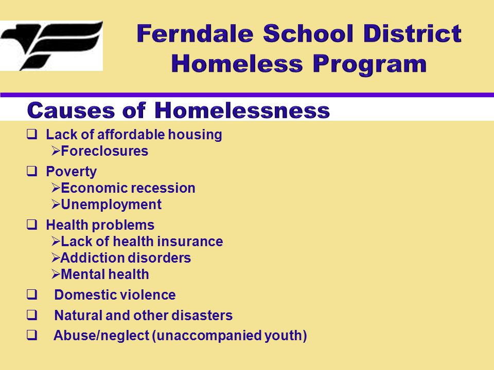  Lack of affordable housing  Foreclosures  Poverty  Economic recession  Unemployment  Health problems  Lack of health insurance  Addiction disorders  Mental health  Domestic violence  Natural and other disasters  Abuse/neglect (unaccompanied youth)