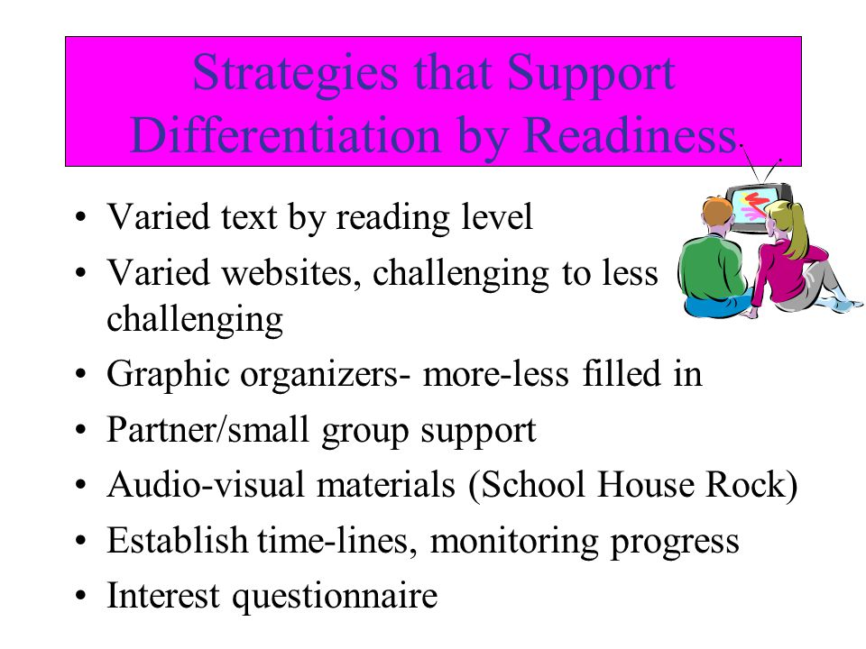 Strategies that Support Differentiation by Readiness Varied text by reading level Varied websites, challenging to less challenging Graphic organizers- more-less filled in Partner/small group support Audio-visual materials (School House Rock) Establish time-lines, monitoring progress Interest questionnaire
