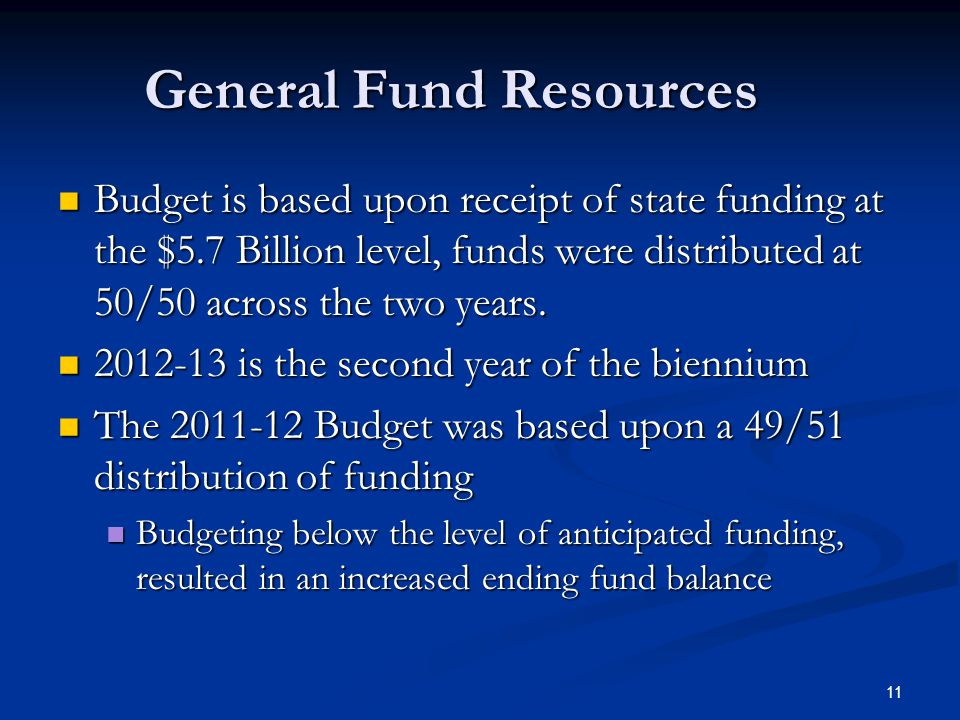 11 General Fund Resources Budget is based upon receipt of state funding at the $5.7 Billion level, funds were distributed at 50/50 across the two years.