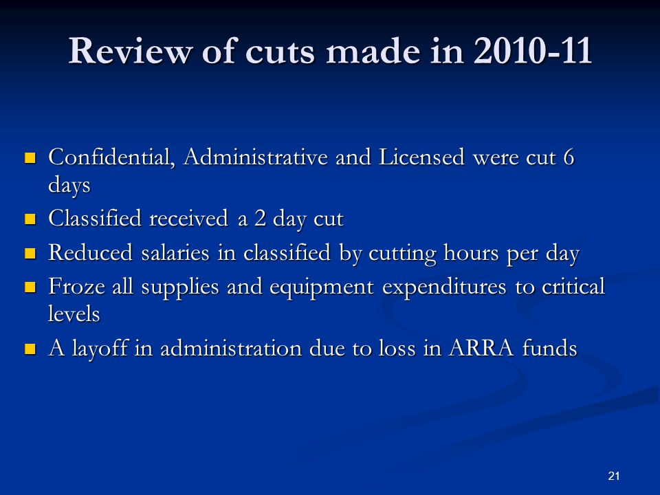 21 Review of cuts made in 2010-11 Confidential, Administrative and Licensed were cut 6 days Confidential, Administrative and Licensed were cut 6 days Classified received a 2 day cut Classified received a 2 day cut Reduced salaries in classified by cutting hours per day Reduced salaries in classified by cutting hours per day Froze all supplies and equipment expenditures to critical levels Froze all supplies and equipment expenditures to critical levels A layoff in administration due to loss in ARRA funds A layoff in administration due to loss in ARRA funds