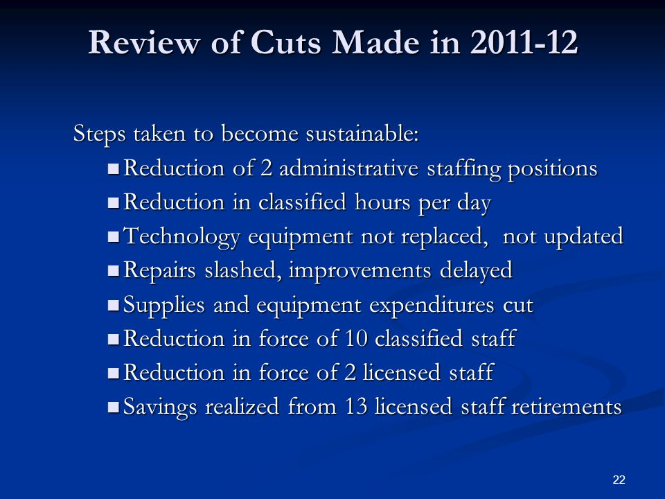 22 Review of Cuts Made in 2011-12 Steps taken to become sustainable: Reduction of 2 administrative staffing positions Reduction of 2 administrative staffing positions Reduction in classified hours per day Reduction in classified hours per day Technology equipment not replaced, not updated Technology equipment not replaced, not updated Repairs slashed, improvements delayed Repairs slashed, improvements delayed Supplies and equipment expenditures cut Supplies and equipment expenditures cut Reduction in force of 10 classified staff Reduction in force of 10 classified staff Reduction in force of 2 licensed staff Reduction in force of 2 licensed staff Savings realized from 13 licensed staff retirements Savings realized from 13 licensed staff retirements