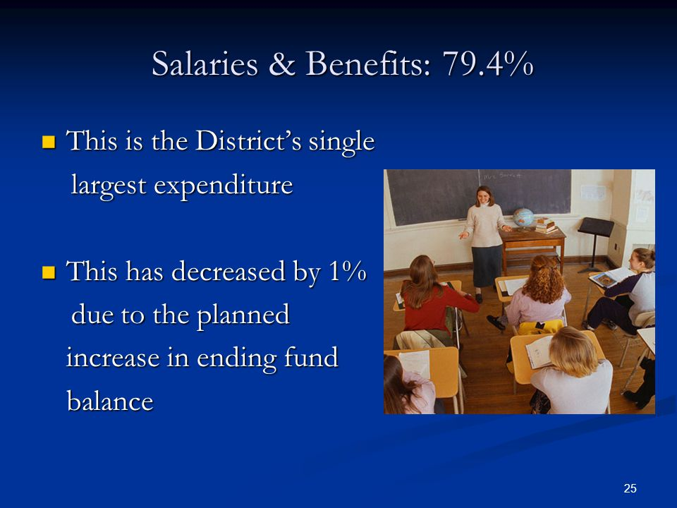 25 Salaries & Benefits: 79.4% Salaries & Benefits: 79.4% This is the District's single This is the District's single largest expenditure largest expenditure This has decreased by 1% This has decreased by 1% due to the planned due to the planned increase in ending fund balance