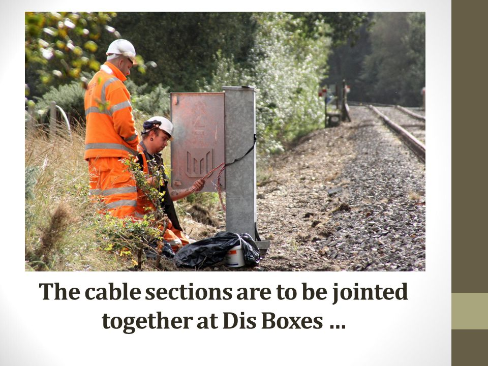 The cable sections are to be jointed together at Dis Boxes …