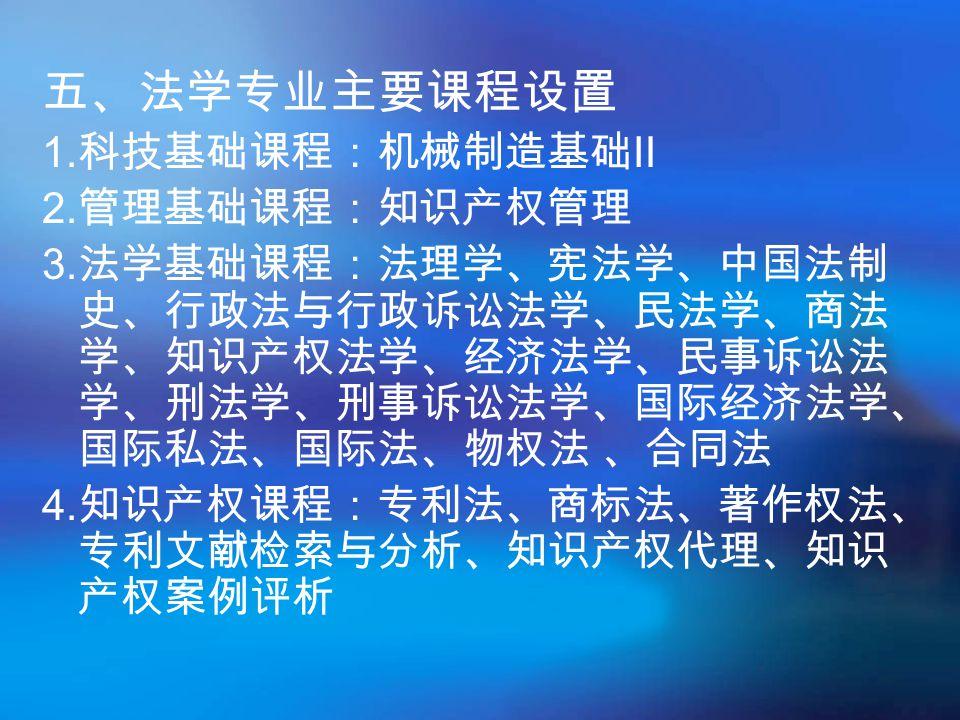 五、法学专业主要课程设置 1.科技基础课程:机械制造基础Ⅱ 2. 管理基础课程:知识产权管理 3.