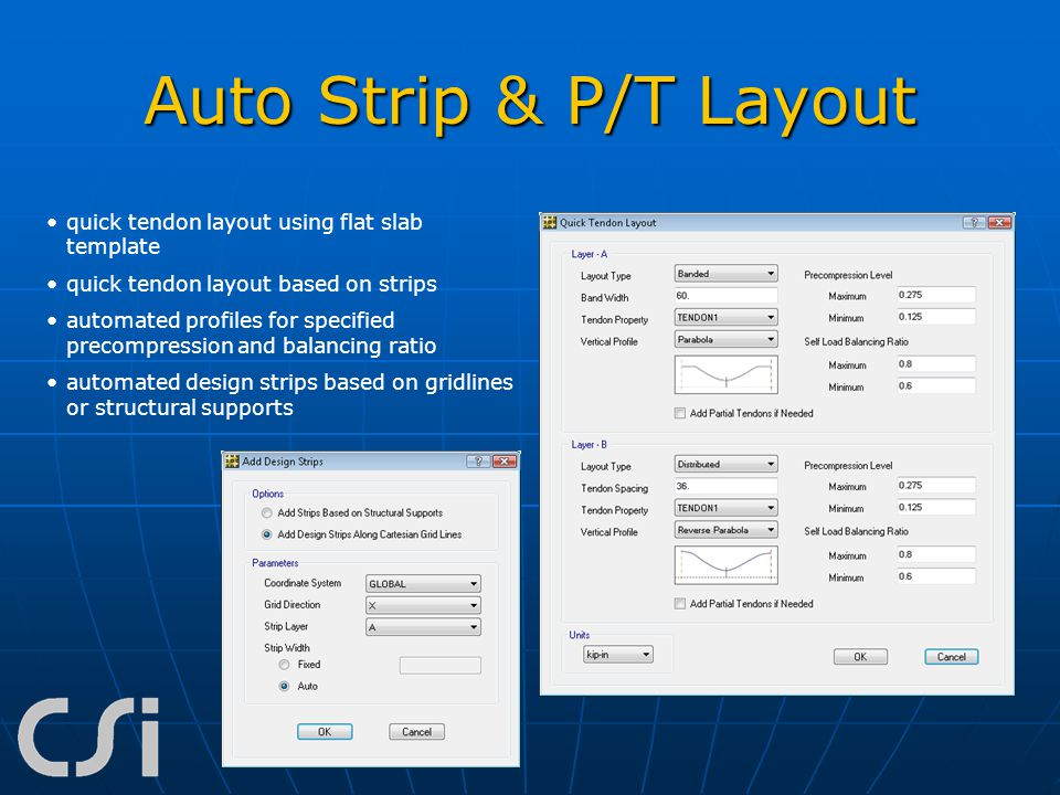Auto Strip & P/T Layout quick tendon layout using flat slab template quick tendon layout based on strips automated profiles for specified precompressi