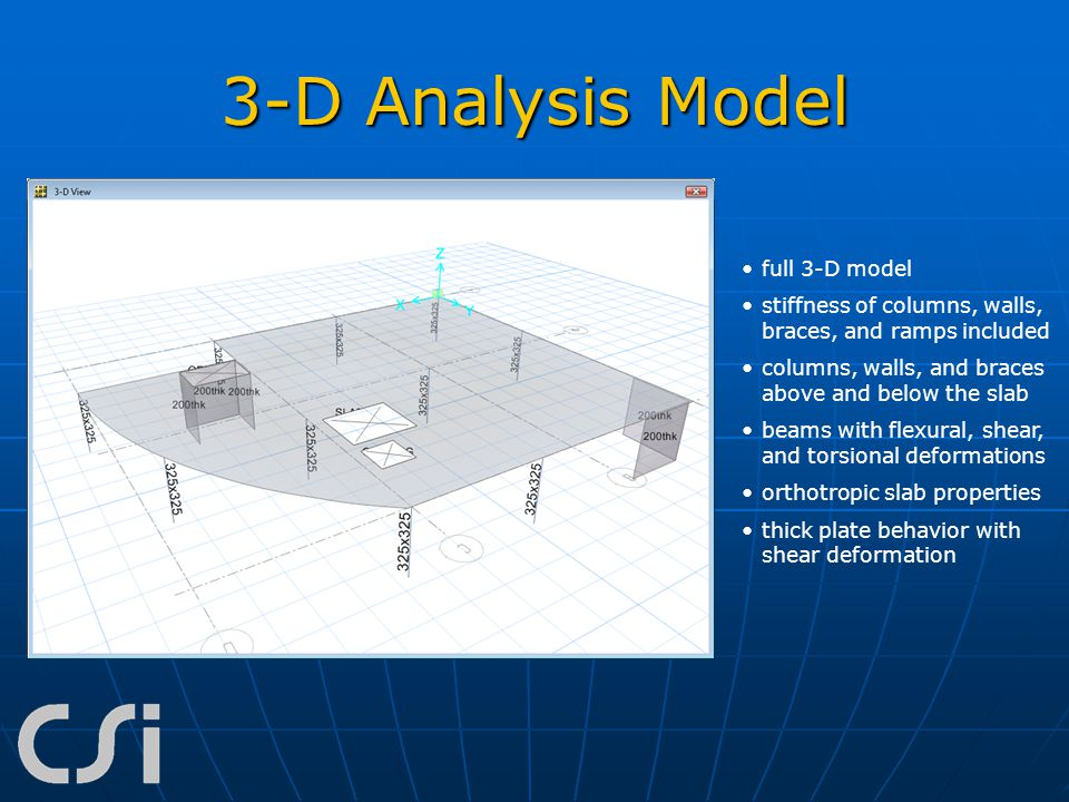 3-D Analysis Model full 3-D model stiffness of columns, walls, braces, and ramps included columns, walls, and braces above and below the slab beams wi
