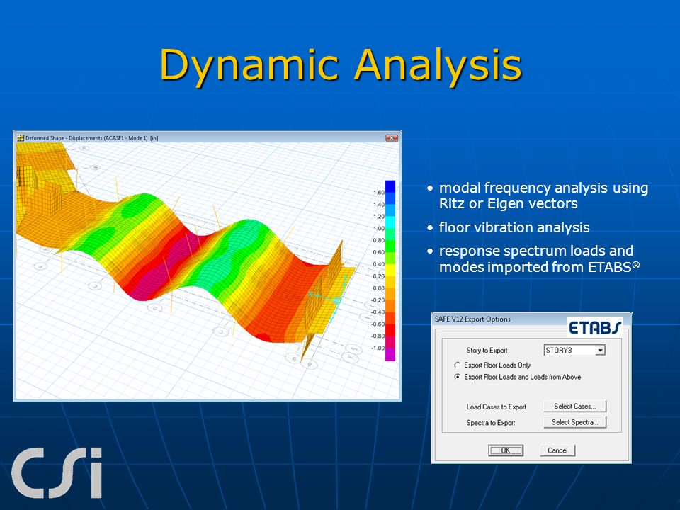 Dynamic Analysis modal frequency analysis using Ritz or Eigen vectors floor vibration analysis response spectrum loads and modes imported from ETABS ®