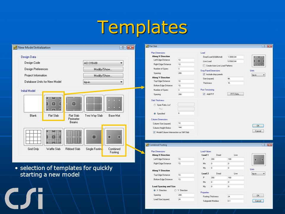 Templates selection of templates for quickly starting a new model