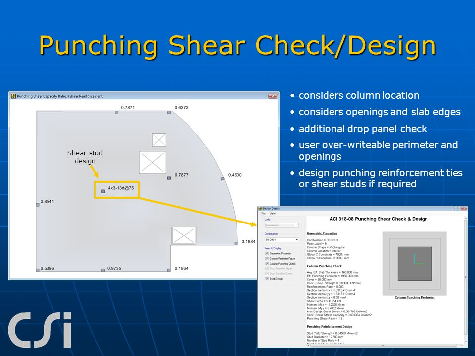 Punching Shear Check/Design considers column location considers openings and slab edges additional drop panel check user over-writeable perimeter and