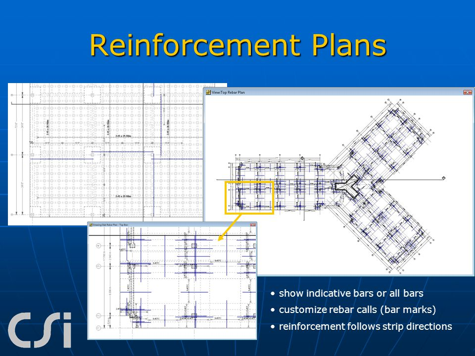 Reinforcement Plans show indicative bars or all bars customize rebar calls (bar marks) reinforcement follows strip directions