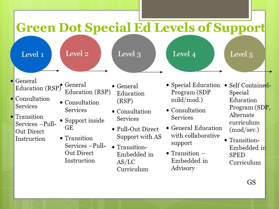 Level 5 Self Contained- Special Education Program (SDP, Alternate curriculum (mod/sev.) Transition- Embedded in SPED Curriculum Level 1 General Education (RSP) Consultation Services Transition Services –Pull- Out Direct Instruction Level 2 General Education (RSP) Consultation Services Support inside GE Transition Services –Pull- Out Direct Instruction Level 4 Special Education Program (SDP mild/mod.) Consultation Services General Education with collaborative support Transition – Embedded in Advisory Level 3 General Education (RSP) Consultation Services Pull-Out Direct Support with AS Transition- Embedded in AS/LC Curriculum Green Dot Special Ed Levels of Support GS